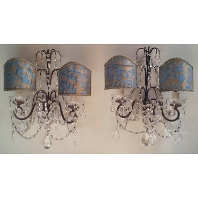Pair of Antique Italian Crystal Wall Sconces with Blue-Green and Gold Fortuny Fabric Clip On Lamp Shades