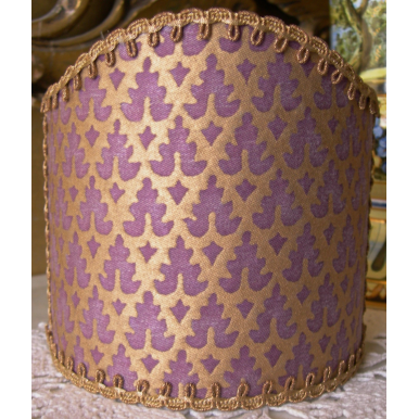 Wall Sconce Clip-On Shield Shades Fortuny Fabric Chinese Plum & Gold Murillo Pattern Half Lampshade