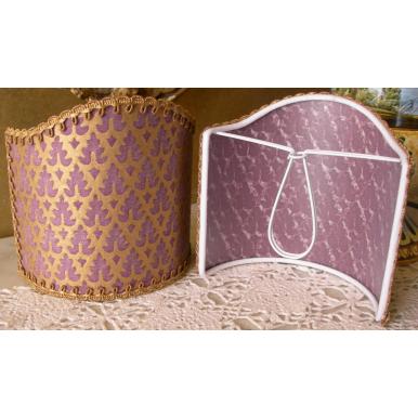 Abat Jour à Pince pour Applique Fait Main Tissu Fortuny Murillo Prune et Or