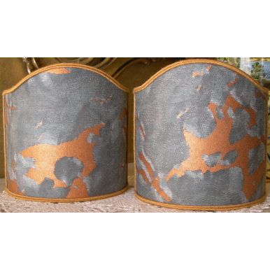 Wall Sconce Clip-On Shield Shades Fortuny Fabric Marmo Pattern in Black, Grey & Copper Mini Lampshade