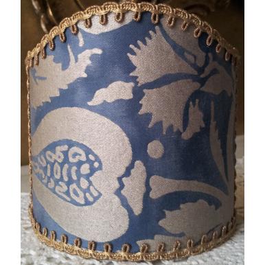 Abat Jour à Pince pour Applique Fait Main Tissu Fortuny Melagrana Bleu et Argent