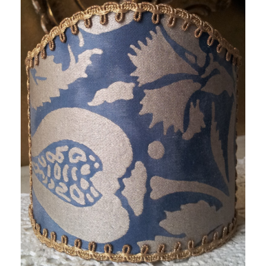 Wall Sconce Clip-On Shield Shade Fortuny Fabric Midnight Blue & Silver Melagrana Pattern Half Lampshade
