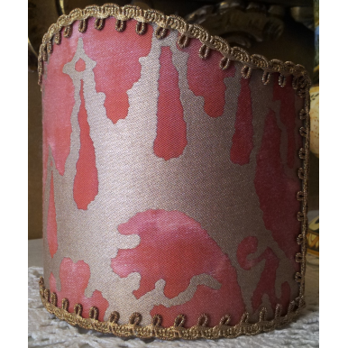 Wall Sconce Clip-On Shield Shade Fortuny Fabric Red & Gold Vivaldi Pattern