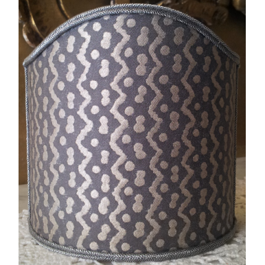 Wall Sconce Clip-On Shield Shade Fortuny Fabric Black & Silver Tapa Pattern Half Lampshade