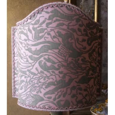 Paralume Ventola in Tessuto Fortuny Leopardi Rosa e Verde