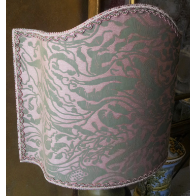 Venetian Lamp Shade Fortuny Fabric Old Rose & Celadon Leopardi Pattern Half Lampshade