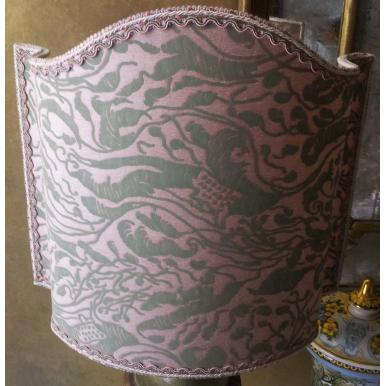 Abat Jour Vénitien Fait Main Tissu Fortuny Leopardi Rose Antique et Vert Celadon