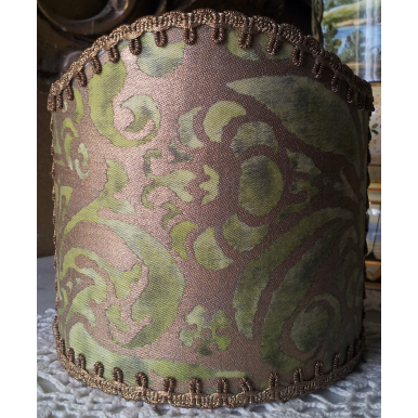 Wall Sconce Clip-On Shield Shade Fortuny Campanelle in Seafoam Green and Gold