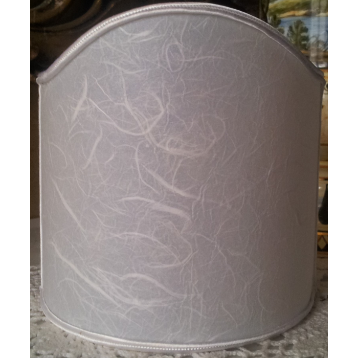 Wall Sconce Clip On Shield Shade in Off-White Veined Parchment Half Lampshade