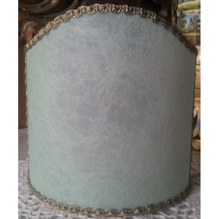 Wall Sconce Clip On Shield Shade in Green Veined Parchment Half Lampshade
