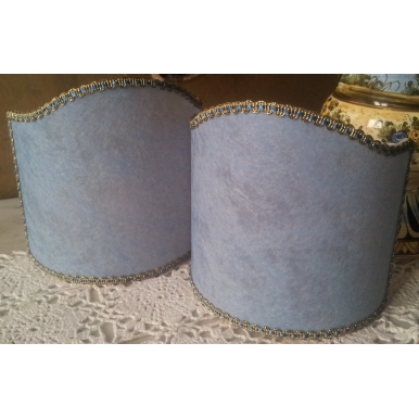 Wall Sconce Clip On Shield Shade in Blue Veined Parchment Half Lampshade