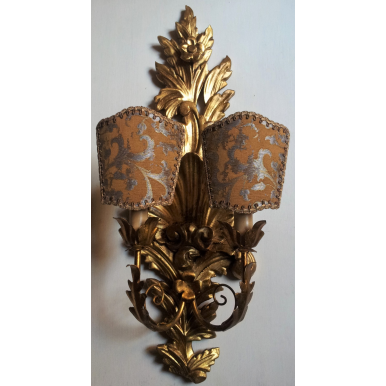 Pair of Antique Italian Carved Gilt Wood Wall Sconces with Bronze and Silver Rubelli Fabric Clip On Lamp Shades