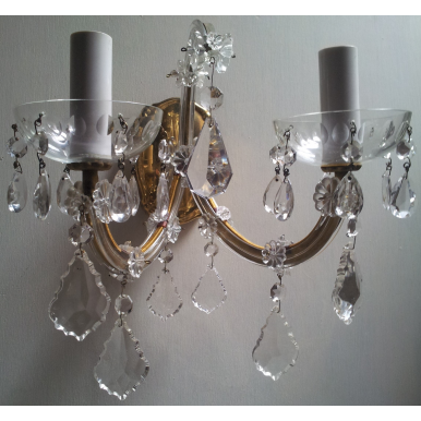 Pair of Vintage French Maria Theresa Crystal 2 Arm Wall Sconces with Gold Silk Damask Rubelli Fabric Clip On Lamp Shades