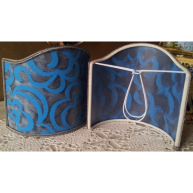 Wall Sconce Clip-On Shield Shade Fortuny Fabric Turkish Blues Nuvole Pattern