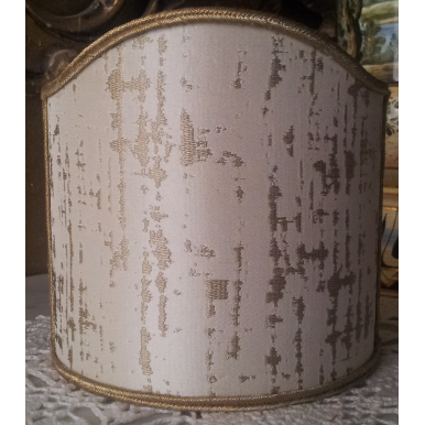 Wall Sconce Clip-On Shield Shade Off-White and Gold Silk Lampas Zanni Rubelli Fabric Mini Lampshade