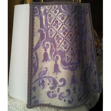 Paralume Ventola Fiorentina Tessuto Fortuny Carnavalet Viola e Oro