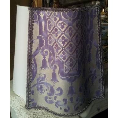 Half Fancy Square Lamp Shade Fortuny Fabric Carnavalet in Royal Purple & Silvery Gold