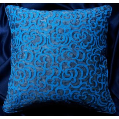 Housse de Coussin Fait Main en Tissu Fortuny Nuvole Bleu et Turquoise