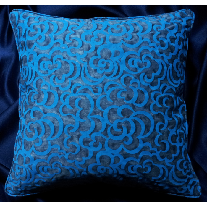 Throw Pillow Cushion Cover Fortuny Fabric Turkish Blue Nuvole Pattern