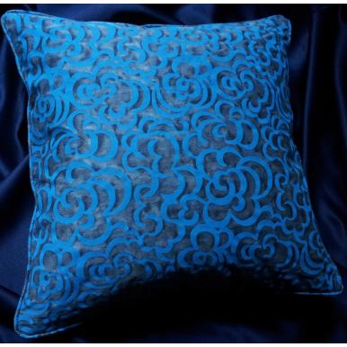 Fodera per Cuscino in Tessuto Fortuny Nuvole Blu e Turchese