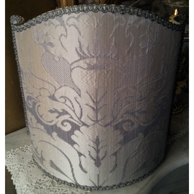 Venetian Lamp Shade in Rubelli Pure Silk Crinkled Damask Fabric Pearl Grey San Marco Pattern Half Lampshade