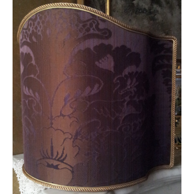 Venetian Lamp Shade in Rubelli Pure Silk Crinkled Damask Fabric Blue Purple San Marco Pattern Half Lampshade