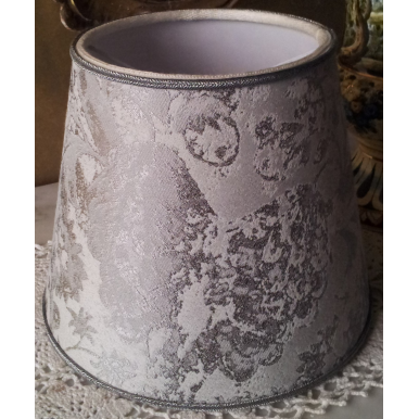Clip On Lamp Shade in Silver Jacquard Rubelli Fabric Mirage Pattern