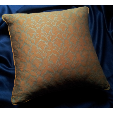 Throw Pillow Cushion Cover Fortuny Fabric Melon & Silvery Gold Delfino Pattern