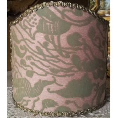 Abat Jour à Pince Fait Main Tissu Fortuny Leopardi Rose Antique et Vert Celadon