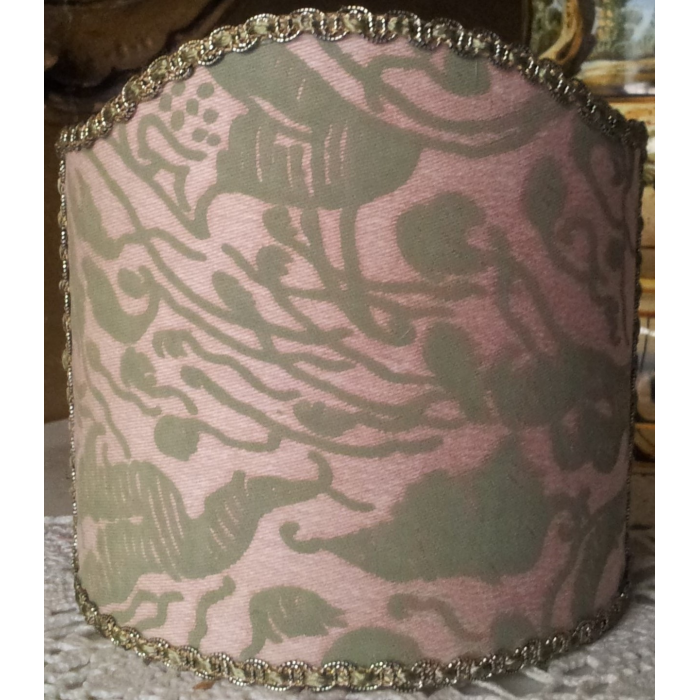 Wall Sconce Clip-On Shield Shade Fortuny Fabric Old Rose & Celadon Leopardi Pattern Mini Lampshade