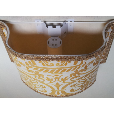 Wall Light Half Lampshade Fortuny Fabric Yellow & White Uccelli Pattern