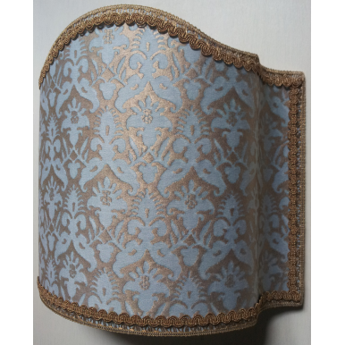 Wall Light Half Lampshade Fortuny Fabric Aquamarine & Silvery Gold Delfino Pattern