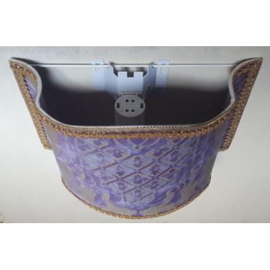 Applique Lampada a Muro in Tessuto Fortuny Carnavalet Viola e Oro