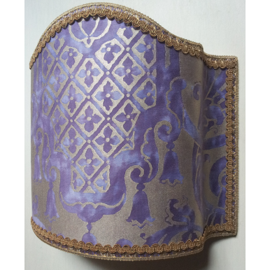 Wall Light Half Lampshade Fortuny Fabric Royal Purple & Silvery Gold Carnavalet Pattern
