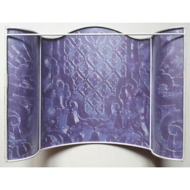Abat Jour Applique Murale en Tissu Fortuny Carnavalet Violet et Or