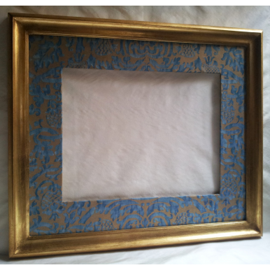 Gilt Gold Leaf Wooden Large Frame with Fortuny Fabric Hand-Wrapped Passepartout Blue-Green & Silvery Gold Orsini Pattern