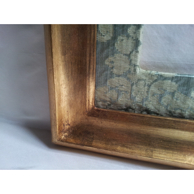 Gilt Gold Leaf Wooden Picture Frame with Silk Damask Rubelli Fabric Hand-Wrapped Passepartout Jade Ruzante Pattern