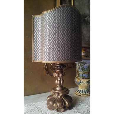 Antique Italian Silvered Carved Wood Table Lamp with Fortuny Fabric Lampshade