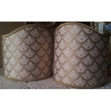 Wall Sconce Clip-On Lamp Shade Fortuny Fabric Ivory & Silvery Gold Canestrelli Pattern