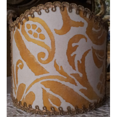 Ventolina per Applique in Tessuto Fortuny Uccelli Giallo e Bianco
