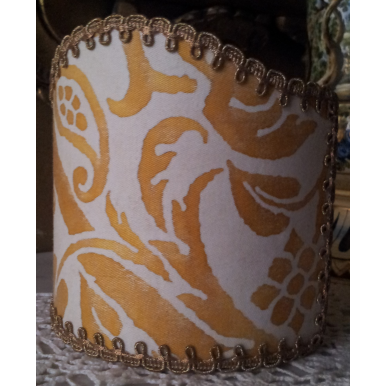 Wall Sconce Clip-On Shield Shade Fortuny Fabric Yellow & White Uccelli Pattern