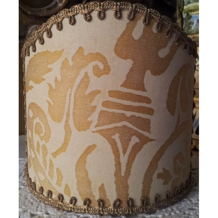 Wall Sconce Clip-On Shield Shade Fortuny Fabric Yellow Monotones Uccelli Pattern