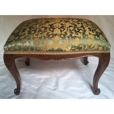 Ancien Pouf Tabouret Louis XV en Bois et Tissu Jacquard de Soie Rubelli Les Indes Galantes Vert et Or