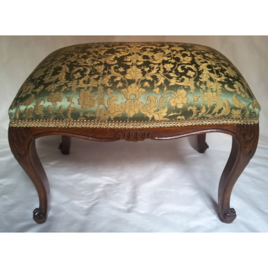 Antique French Louis XV Carved Mahogany Wood Foot Stool Ottoman Bench Reupholstered Green Gold Silk Jacquard Rubelli Fabric