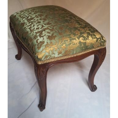 Antico Pouff in Legno Stile Luigi XV in Legno e Tessuto Jacquard di Seta Rubelli Verde e Oro
