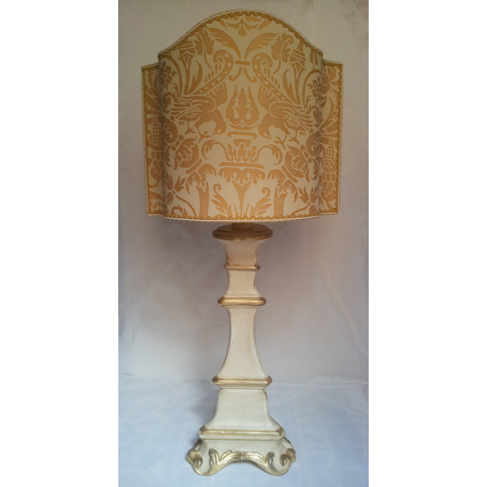 Italian Painted and Gilt Carved Wood Candlestick Table Lamp with Fortuny Fabric Lamp Shade Yellow Monotones Uccelli Pattern