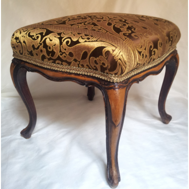 Antique French Louis XV Carved Mahogany Distressed Wood Foot Stool Ottoman Bench Re-Upholstered Brown Gold Rubelli Silk Lampas