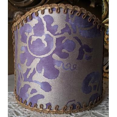 Abat Jour à Pince pour Applique Fait Main Tissu Fortuny Carnavalet Violet et Or