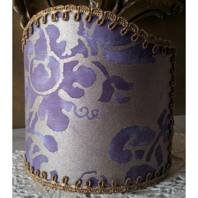 Wall Sconce Clip-On Shield Shade Fortuny Fabric Carnavalet in Royal Purple & Silvery Gold Half Lampshade