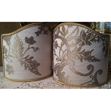 Wall Sconce Clip-On Shield Shade Off-White and Gold Silk Brocade Madama Butterfly Rubelli Fabric Mini Lampshade
